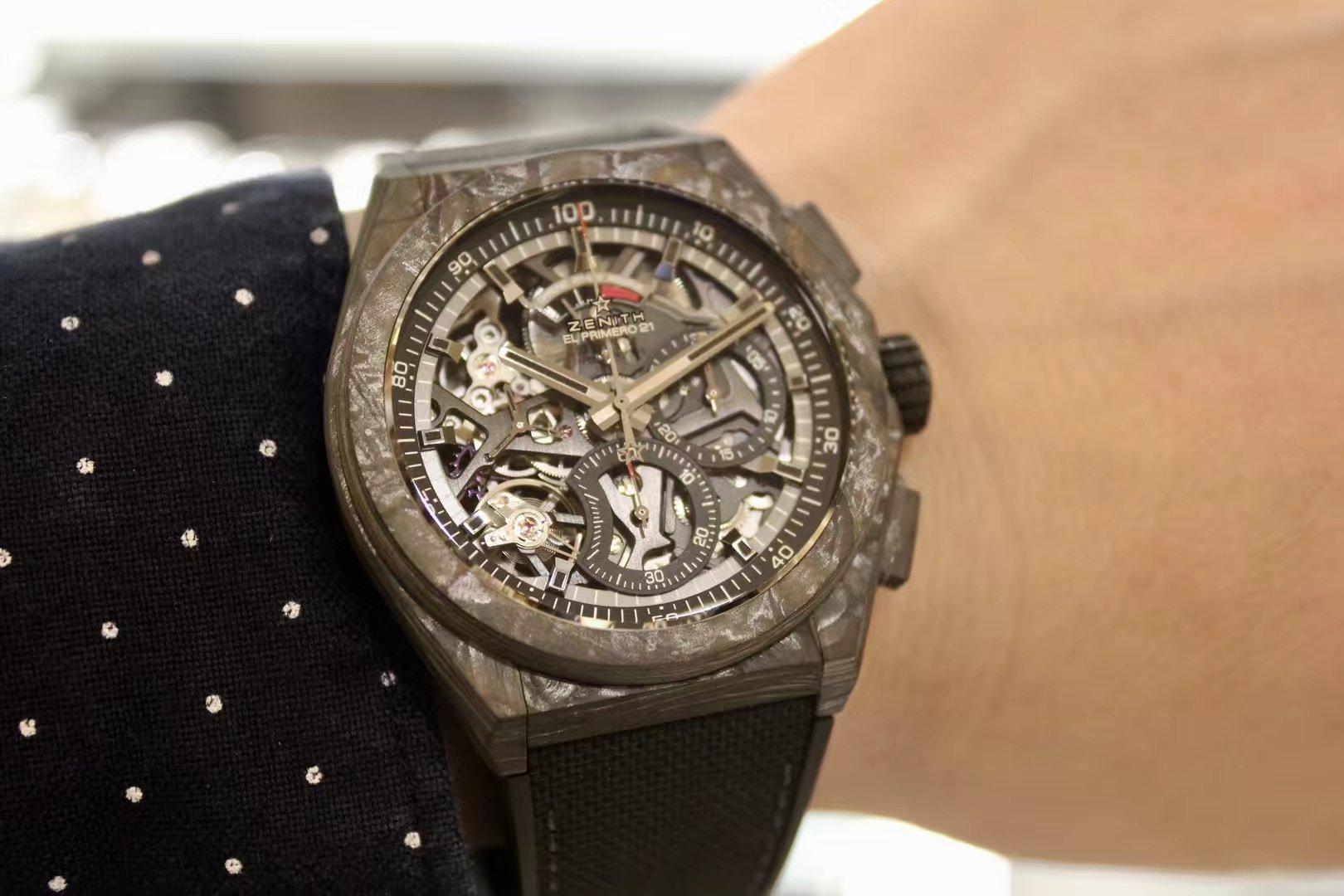 ZENITH真力时DEFY El Primero 21 系列镂空计时腕表,黑碳纤维材质10.9000.9004/96.R921插图1