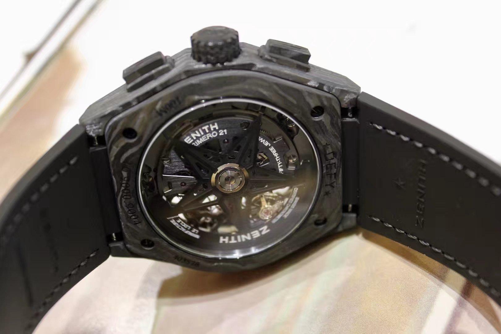 ZENITH真力时DEFY El Primero 21 系列镂空计时腕表,黑碳纤维材质10.9000.9004/96.R921插图2